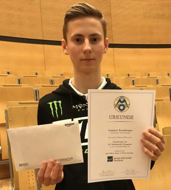 Lennart Kornberger erreicht einen beachtlichen 3. Platz beim Landesentscheid